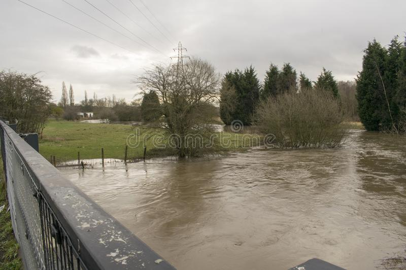 River Dearne In Flood On April 3rd 2018 Wath Upon Dearne, Rotherham, South Yorkshire, England. The River Dearne In Flood On April 3rd 2018 Between Bolton Upon royalty free stock image