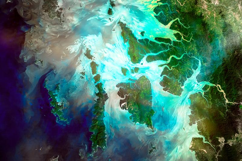 River delta of the Irrawady,. Mergui Archipelago. River delta of the Irrawady, a river that flows from north to south through Myanmar. Elements of this image royalty free stock photography