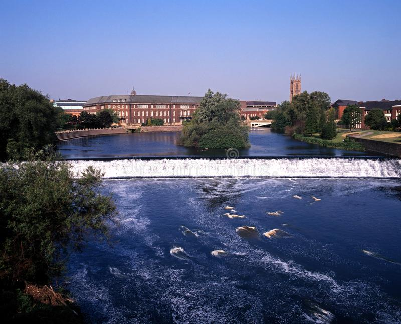 River Derwent, Derby, England. River Derwent with view to the council buildings and Cathedral, Derby, Derbyshire, England, UK, Western Europe stock image