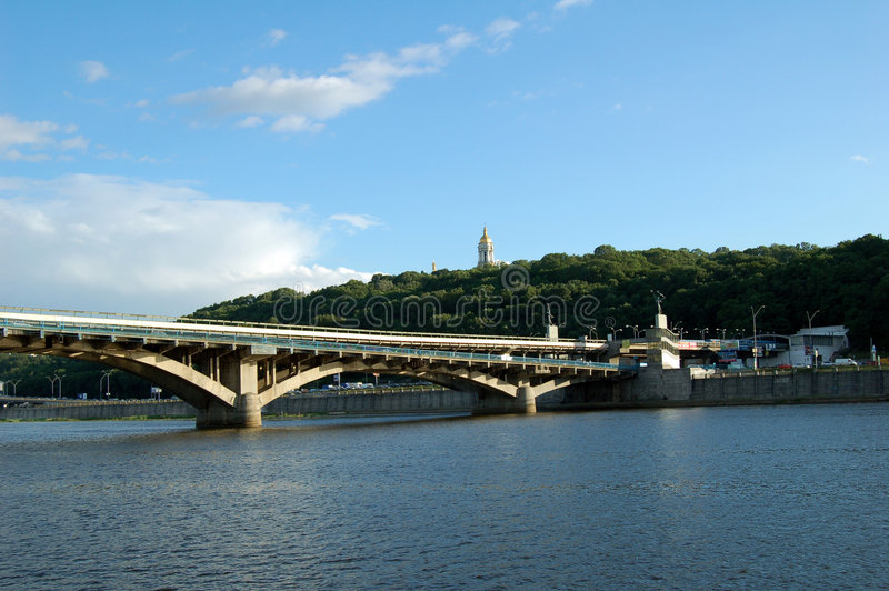 River-Dnipro 1. The river and bridge, Kiev stock photography