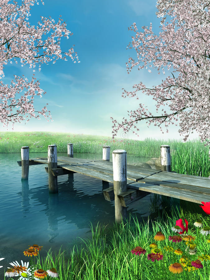 River with a dock. River with a fishing dock, spring flowers and trees stock illustration