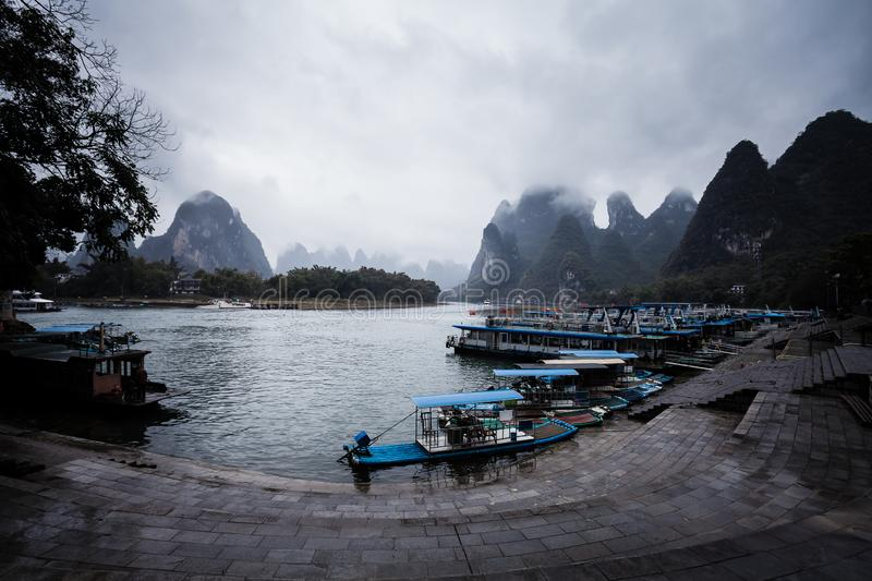 River dock Yangshuo China stock photo