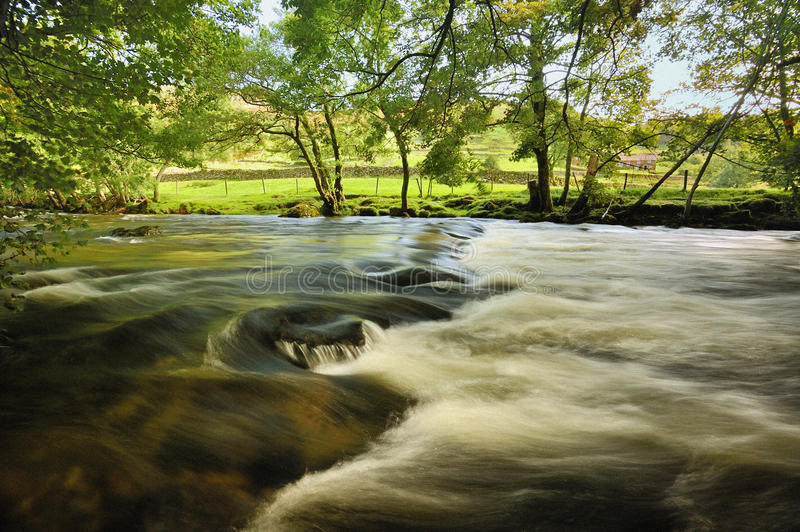 River Duddon waters, Cumbria. The waters of the river Duddon, in the valley of the same name, in the Lake district national park, Cumbria. Taken here in summer stock image