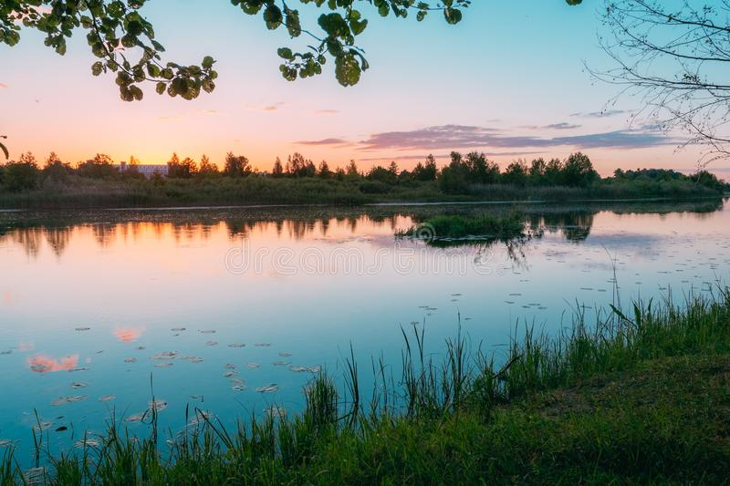 River at dusk in summer landscape royalty free stock photography