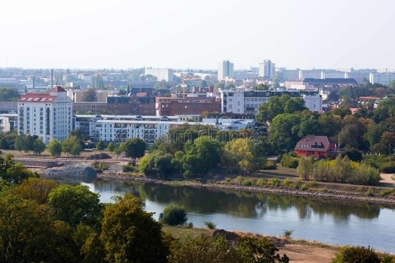 The River Elbe in Magdeburg and the district buckau stock photo