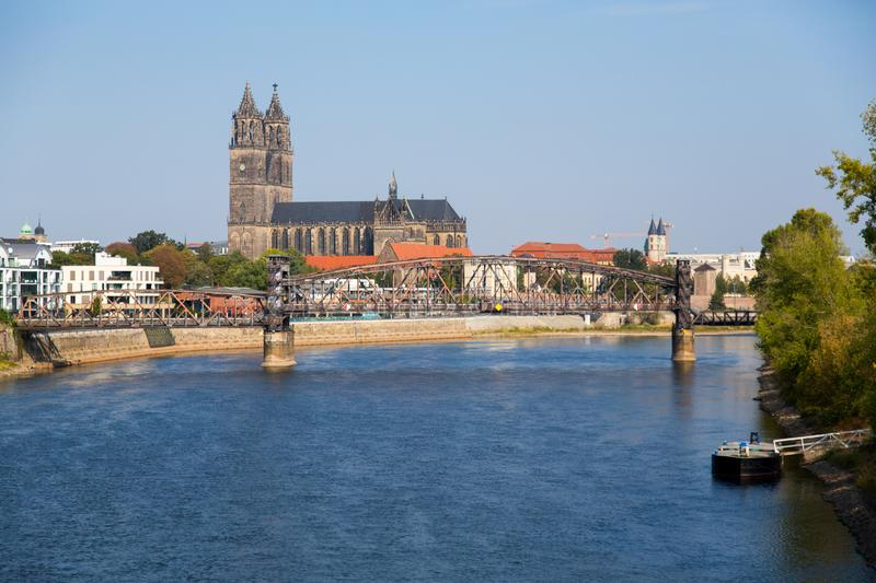 The River Elbe in Magdeburg stock photography