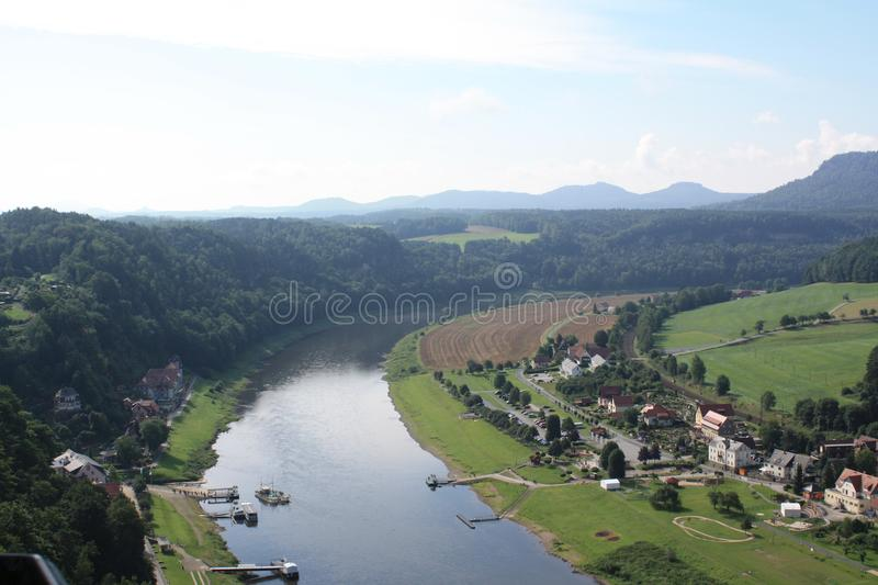 The river ELBe. The valley of the river Elbe with the crossing, view from heights, a beautiful coasts, small houses, beautiful horns village royalty free stock photo