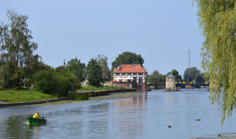 Beside the river. Elblag Poland on a bright summers day stock photo