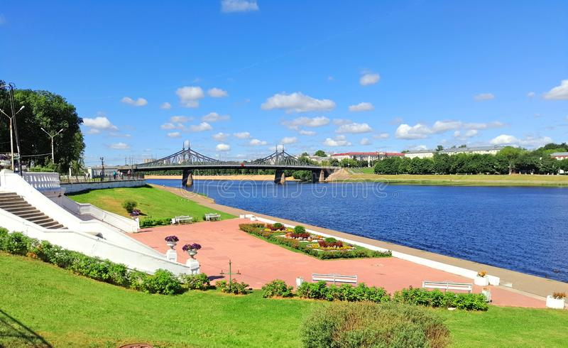 River embankment, blue sky with clouds stock images