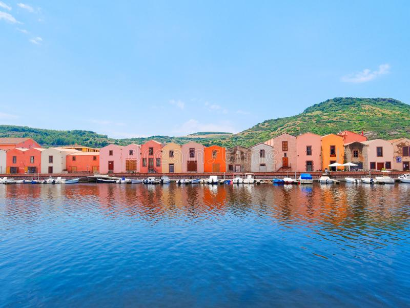 River embankment in the city of Bosa with colorful, typical Italian houses. province of Oristano, Sardinia, Italy. stock photos