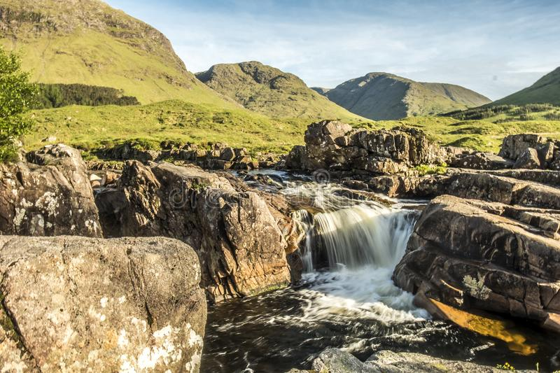 River Etive waterfall in the highlands of Scotland by Glencoe, United Kingdom royalty free stock photos