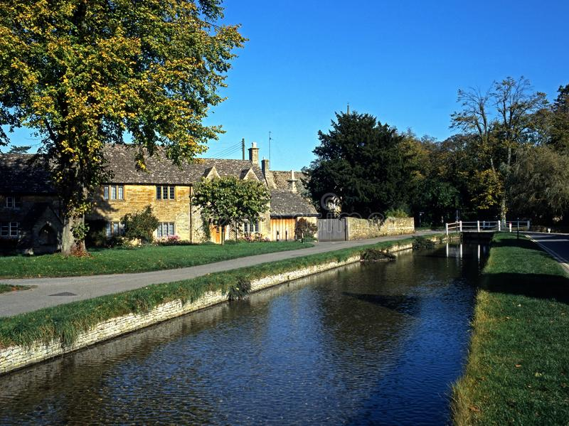 River Eye, Lower Slaughter, England. River Eye and centre of village, Lower Slaughter, Gloucestershire, Cotswolds, England, UK, Wesern Europe royalty free stock photography