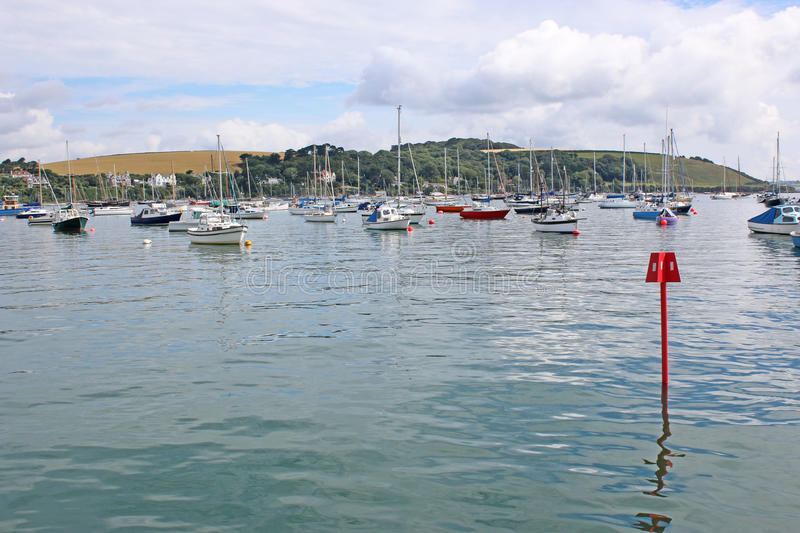 River Fal, Falmouth. Boats moored on the River Fal royalty free stock photos