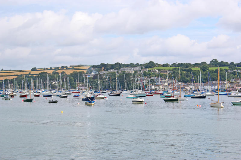 River Fal, Falmouth. Yachts moored on the River Fal royalty free stock photos