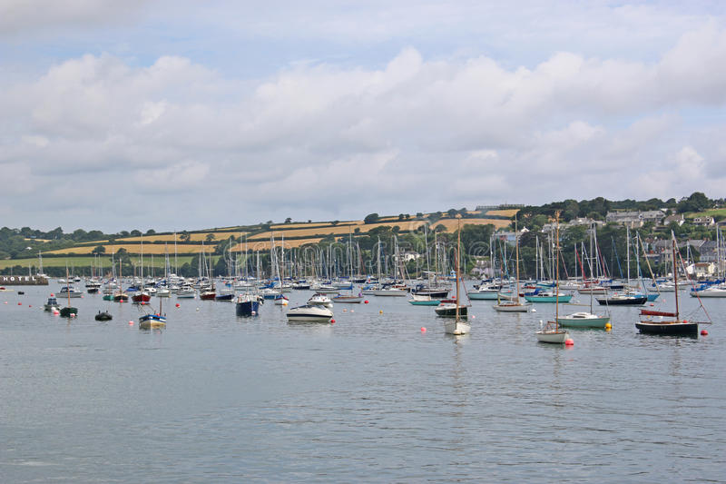 River Fal, Falmouth. Yachts moored on the River Fal stock images