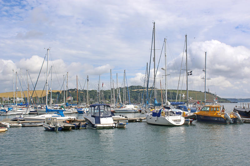 River Fal, Falmouth. Yachts moored on the River Fal, Cornwall royalty free stock image