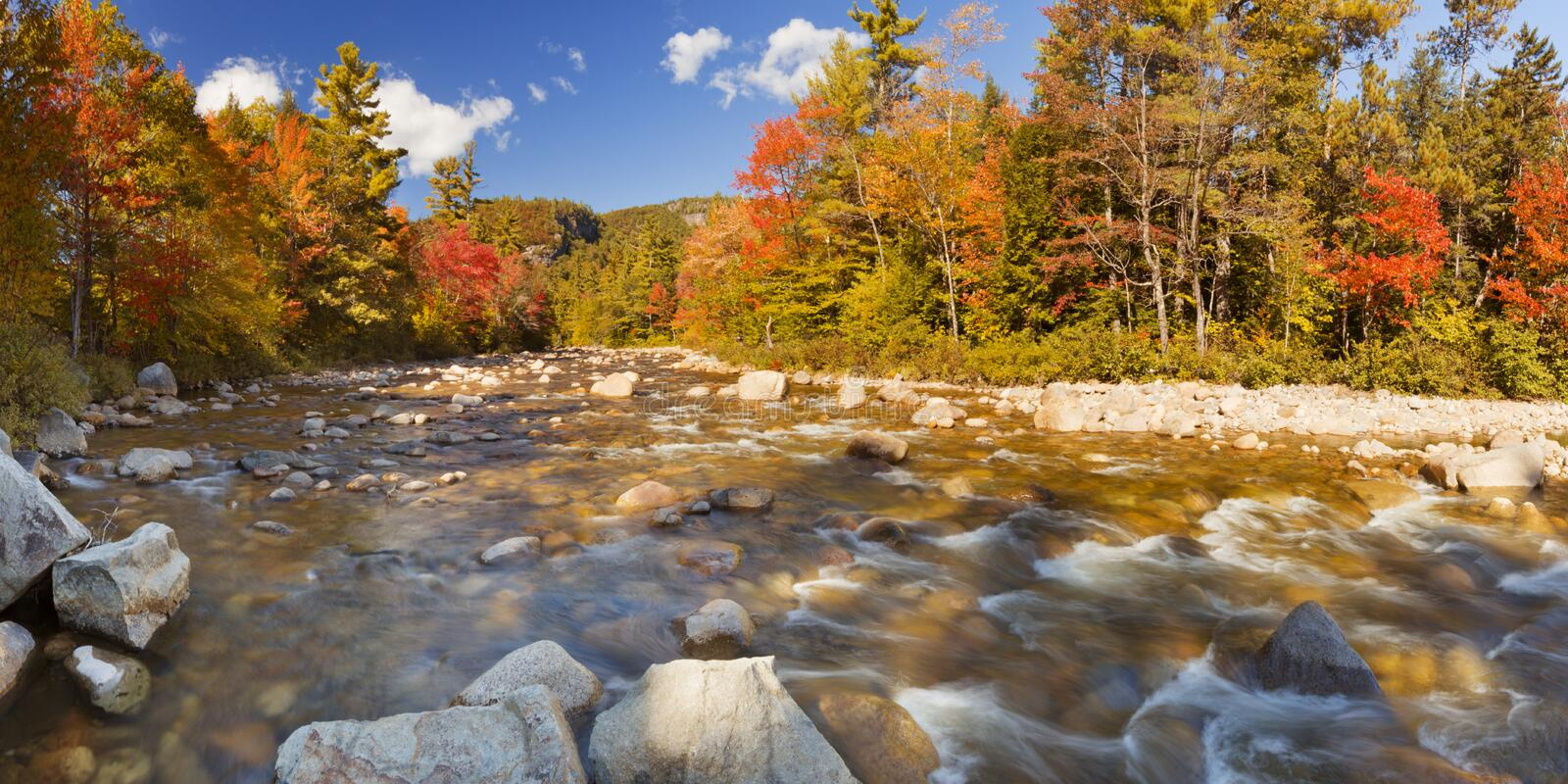 River through fall foliage, Swift River, New Hampshire, USA stock photo