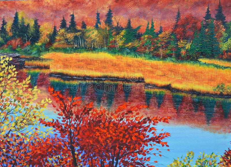 River in fall oil painting on canvas vector illustration