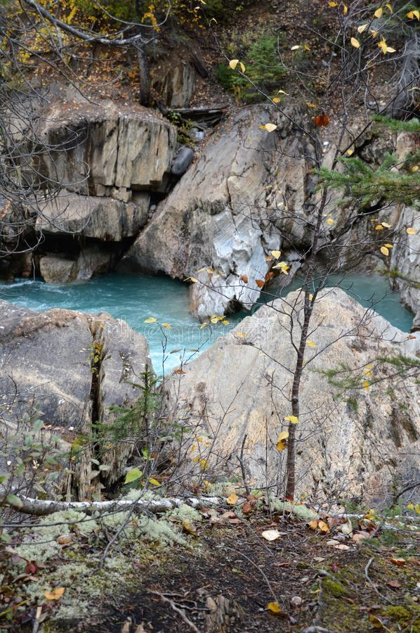River Falls outside of Golden, Canada. River winding through the mountains outside of Golden, Canada in the fall royalty free stock images