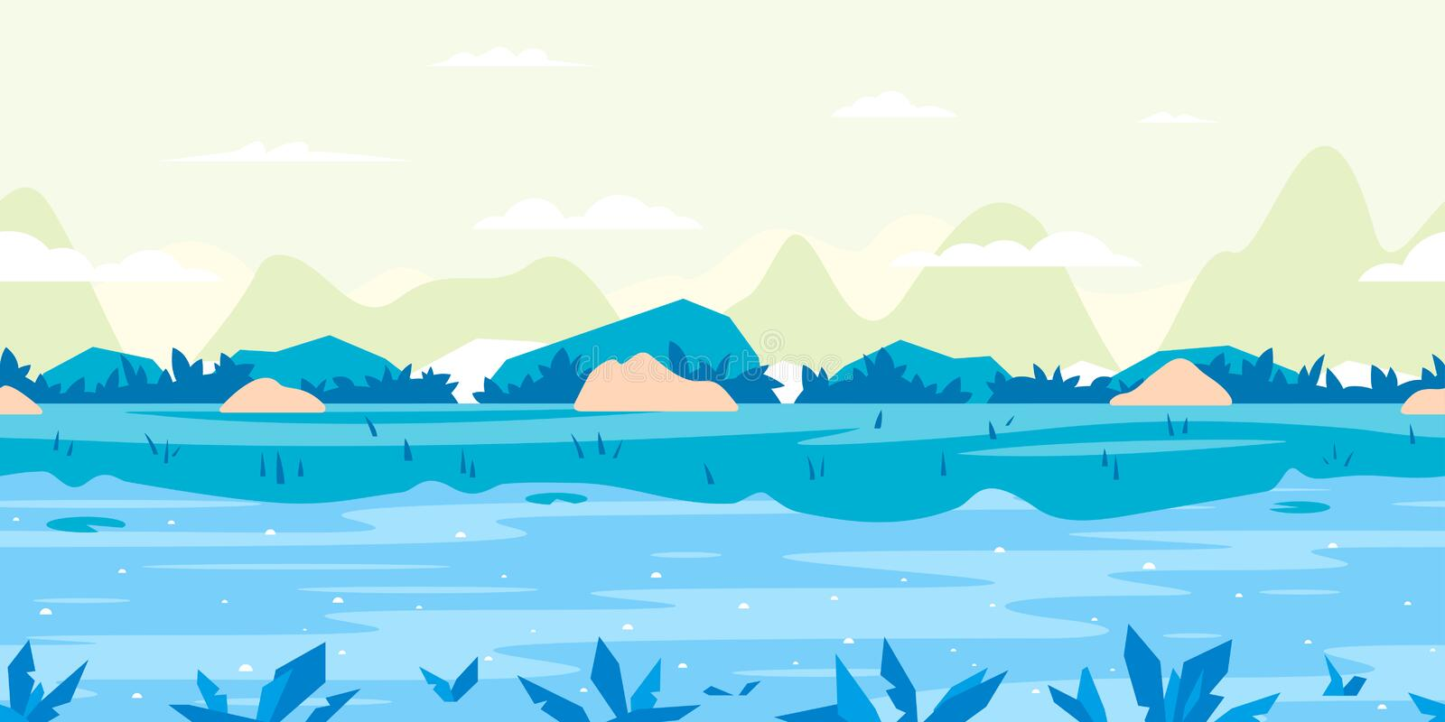 River Flow Game Background Flat Landscape vector illustration