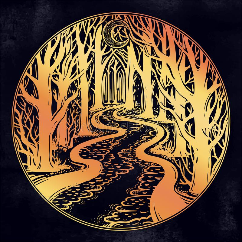 River floating in the middle of the night through dark misty forest leading to horizon between trees royalty free illustration