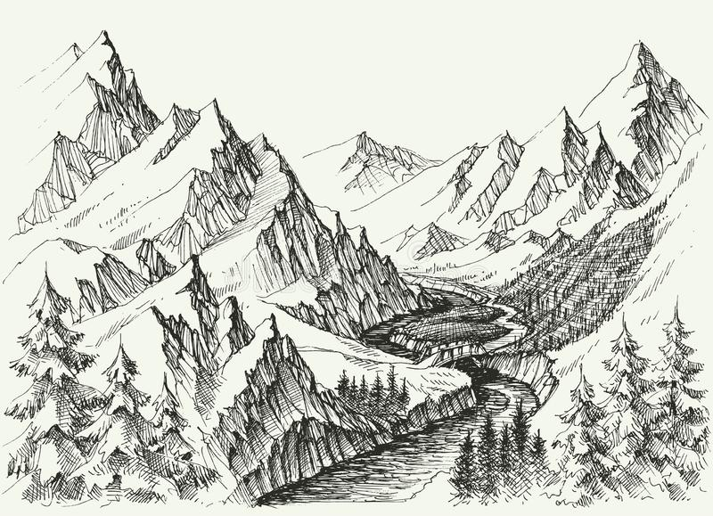 River flow in the mountains vector illustration