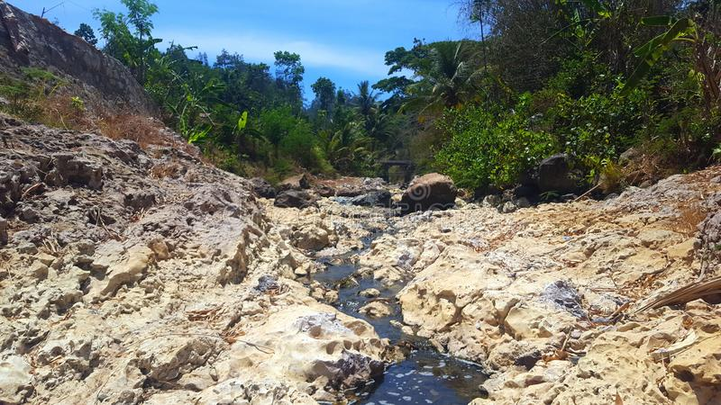 River flow with rock cliffs and clear water. Seems to dry out due to long drought royalty free stock image
