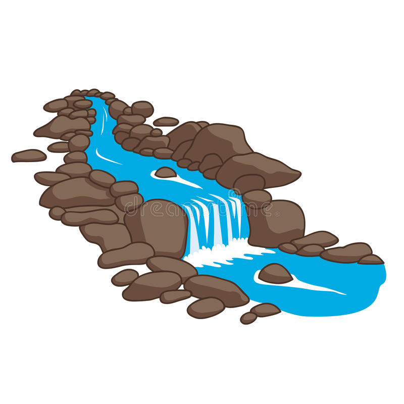 River flowing down stream across a stones. vector illustration