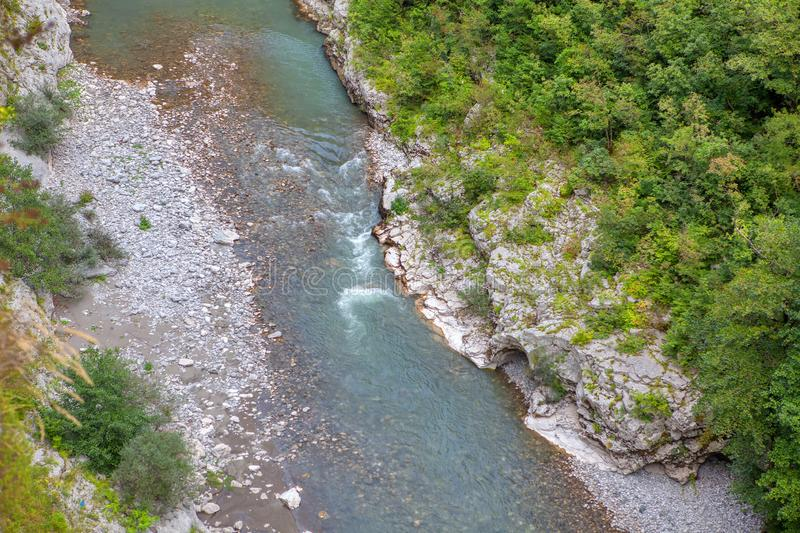 River flowing in mountains. Aerial view of Tara river in Montenegro royalty free stock photos