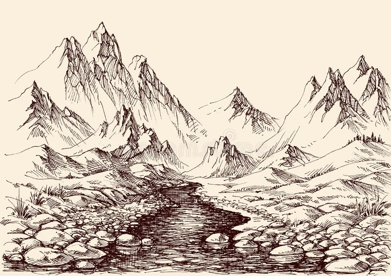 River flowing in the mountains vector illustration
