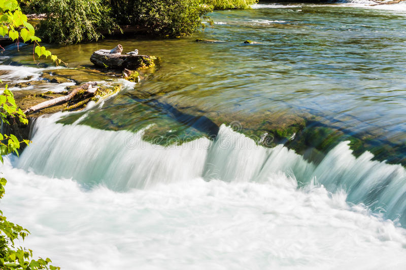 River Flowing over Rocky Ledge. River water cascading over short ledge, creating white foam -- timed exposure stock photo