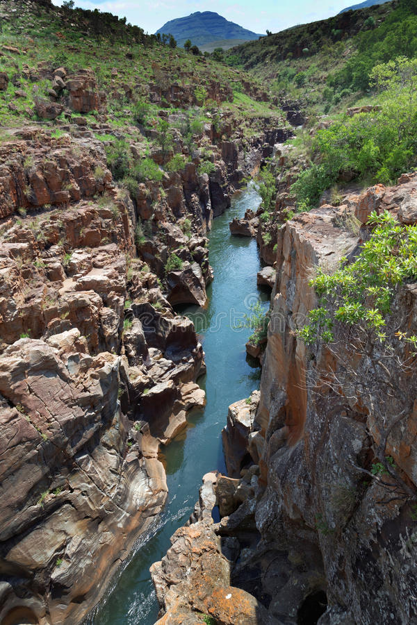 River flowing through a rocky gorge stock image