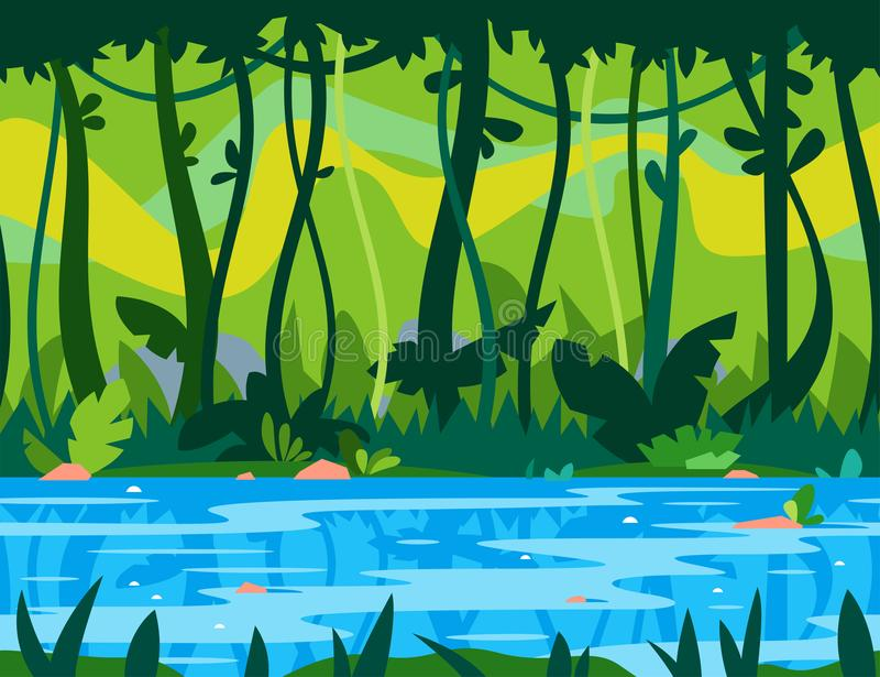 Jungle River Game Background royalty free illustration