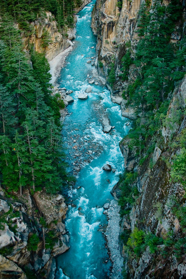 River Ganga in valley Himalayas mountains royalty free stock photography