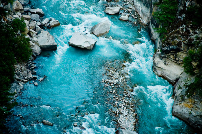 River Ganga in valley Himalayas mountains stock image