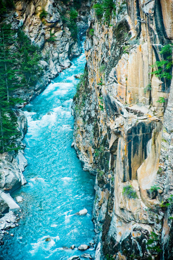 River Ganga in valley Himalayas mountains stock images