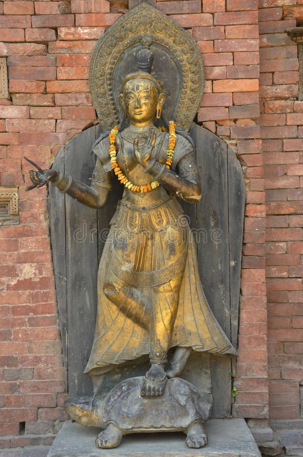 River Goddess Ganga. The river goddess Ganga stands on a turtle at the Royal Palace Durbar Square, Patan, Nepal royalty free stock photo