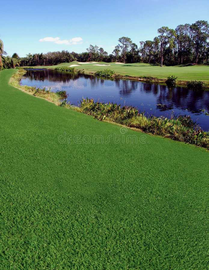 River & Golf Course. River that runs thru a golf course royalty free stock photography