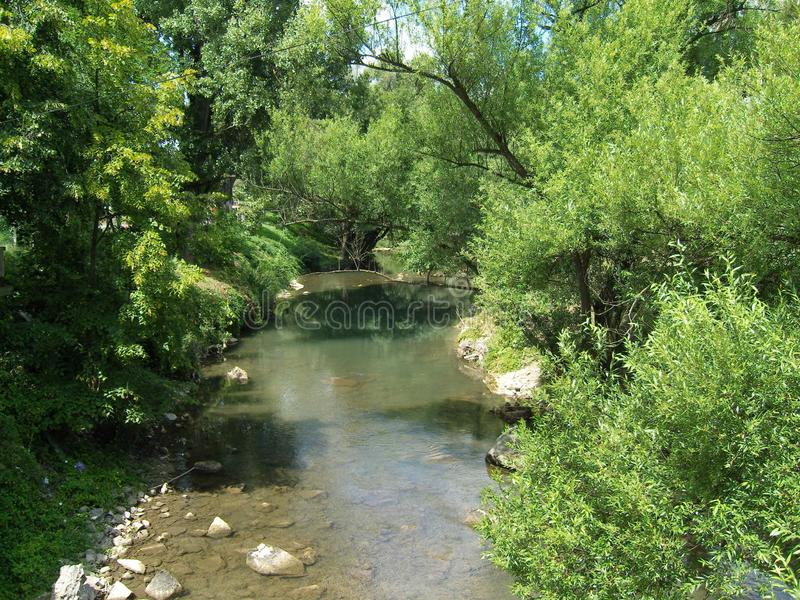 River Gradac Valjevo Serbia landscape in summer. Just nort of the city Valjevo in western Serbia lies nature reserve Gradac with all its beauty royalty free stock photos