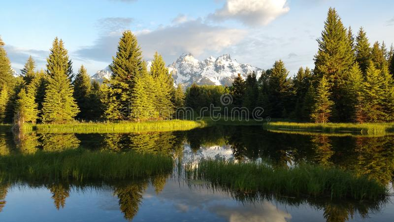 The river at the great Tetons, USA stock images
