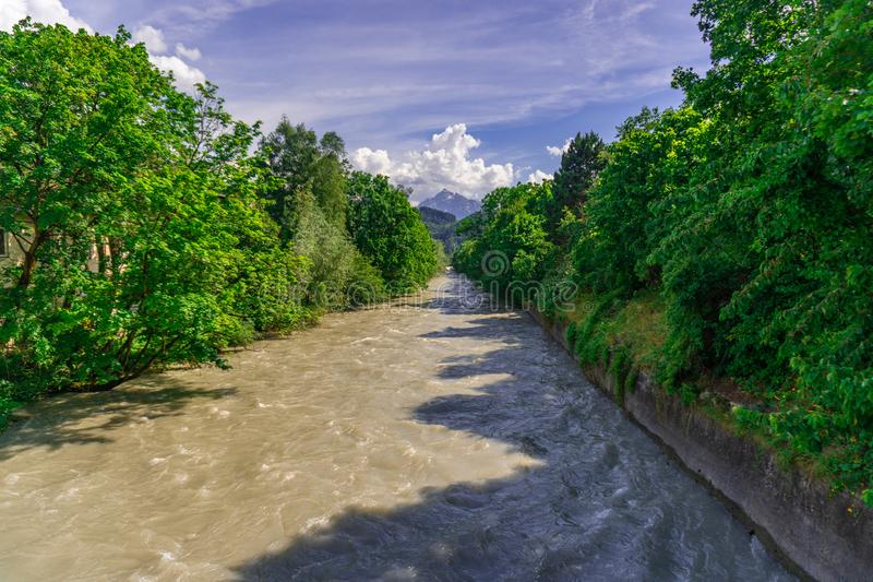 River with the green Trees and blue sky stock photography
