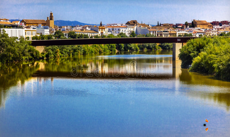 River Guadalquivir Bridge Cordoba Spain. Modern Bridge River Guadalquivir Cordoba Spain stock photos
