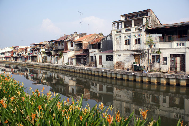River and houses royalty free stock photography