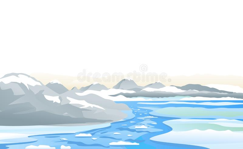 River ice melting in mountain stock illustration