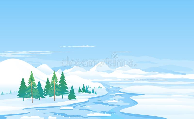 River ice melting spring landscape illustration stock illustration