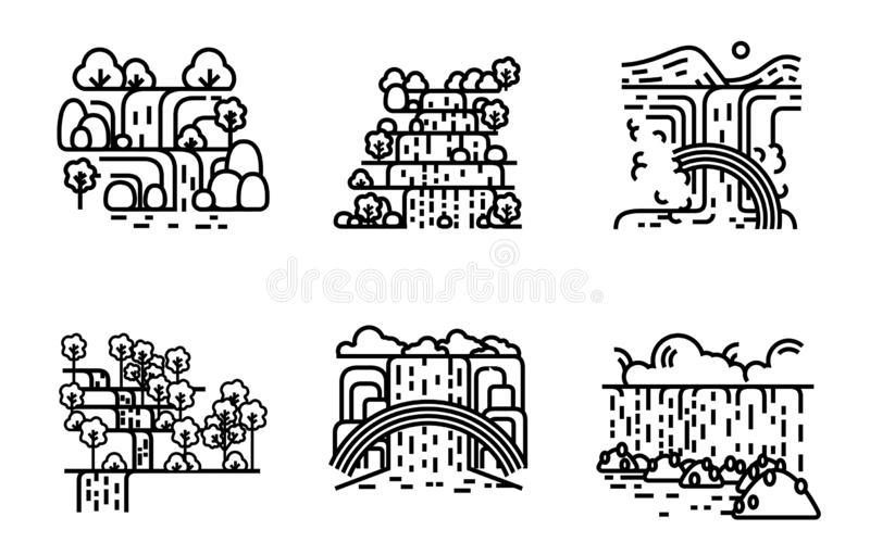Waterfall icon set. Flat line illustration. Waterfall icon view set. Symbol and sign nature place. Flat line vector illustration royalty free illustration