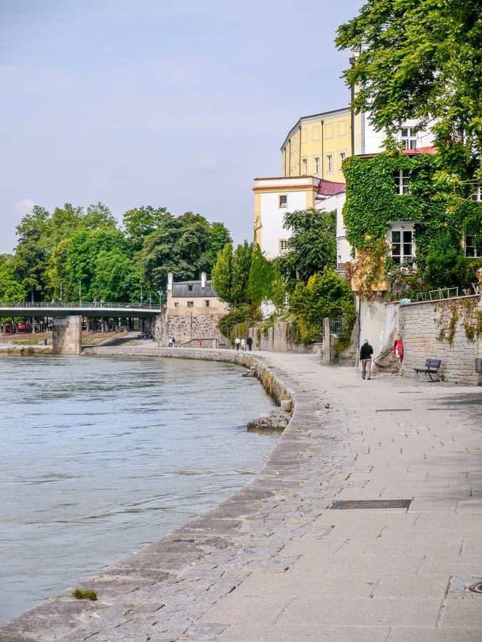 River Inn in full flood, Passau, Germany stock photography