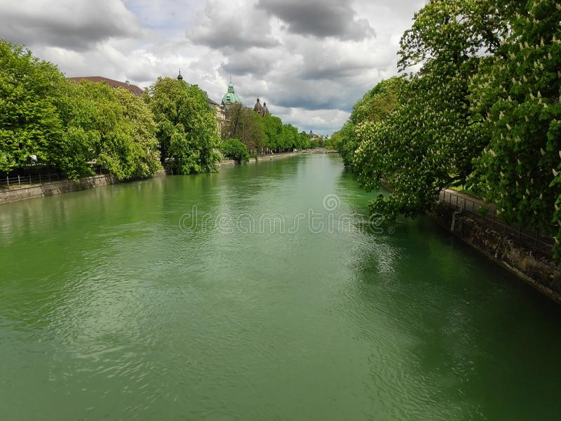 River isar panorama in Munich in the spring time stock photos