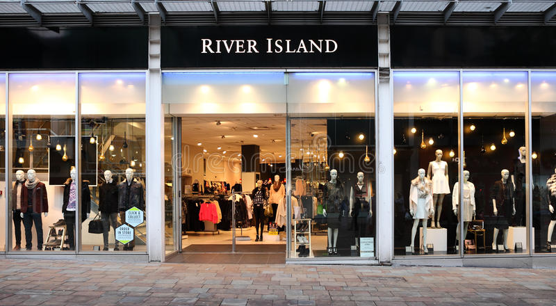 River Island retail store front. Fashion brand, which operates in a number of worldwide markets and across the UK, headquarters based in London royalty free stock photo