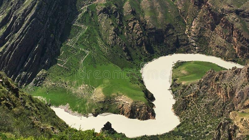 River in Kalajun Grassland Xinjiang China. Kalajun Grassland is located in northwestern China`s Xinjiang Uygur Autonomous Region. Kalajun means `a dark royalty free stock image